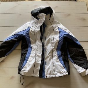 womens L columbia 3 in 1 winter jacket white blue